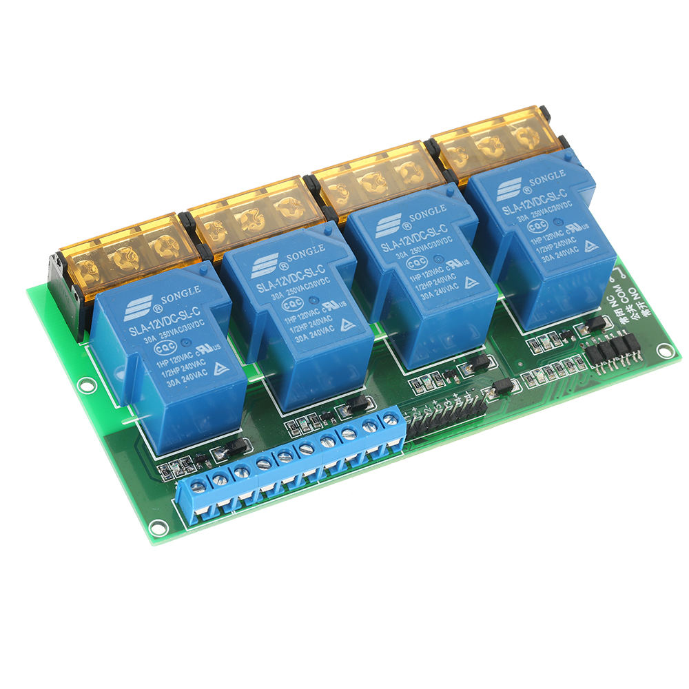 цена на 4-Channel DC 12V 30A Relay Module Control Board Optocoupler Isolation High/Low Trigger