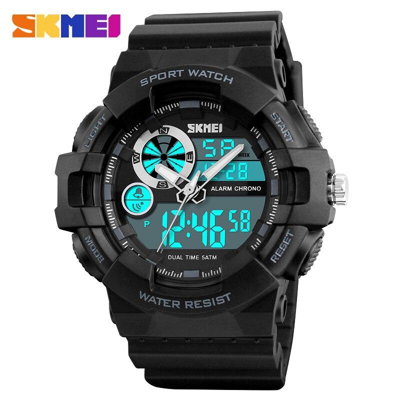 Azul del reloj SKMEI Digital reloj deportivo hombre cuarzo de los hombres al aire libre relojes resistente al agua de pantalla Dual hombre reloj de pulsera erkek kol saati 1312