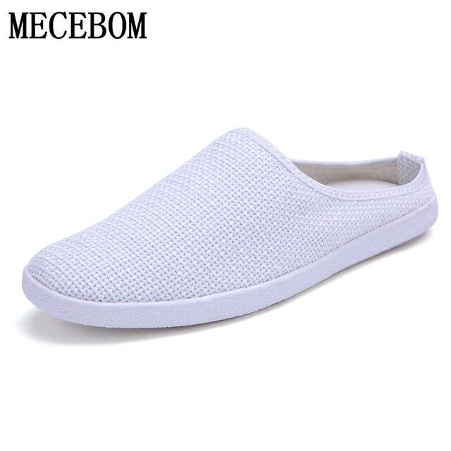 Hombres slip-on mocasines zapatos de lona suave transpirable zapatos de hombre blanco verano calzados para hombre sapatos tamaño 39- 44 C011
