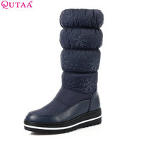 QUTAA 2018 Women Mid Calf Boots Wedge Med Heel Round Toe Winter Shoes Women Snowflake Elastic