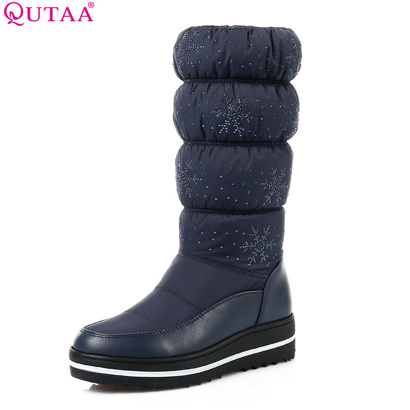 QUTAA 2018 Women Mid Calf Boots Wedge Med Heel Round Toe Winter Shoes Women Snowflake  Elastic band Ladies Snow Boots Size 34-43 nayiduyun women genuine leather wedge high heel pumps platform creepers round toe slip on casual shoes boots wedge sneakers