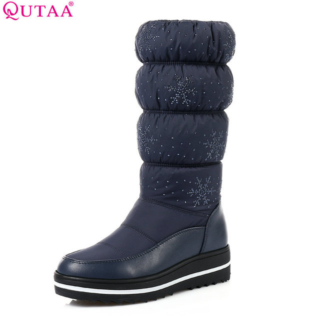QUTAA 2018 Women Mid Calf Boots Wedge Med Heel Round Toe Winter Shoes Women Snowflake  Elastic band Ladies Snow Boots Size 34-43