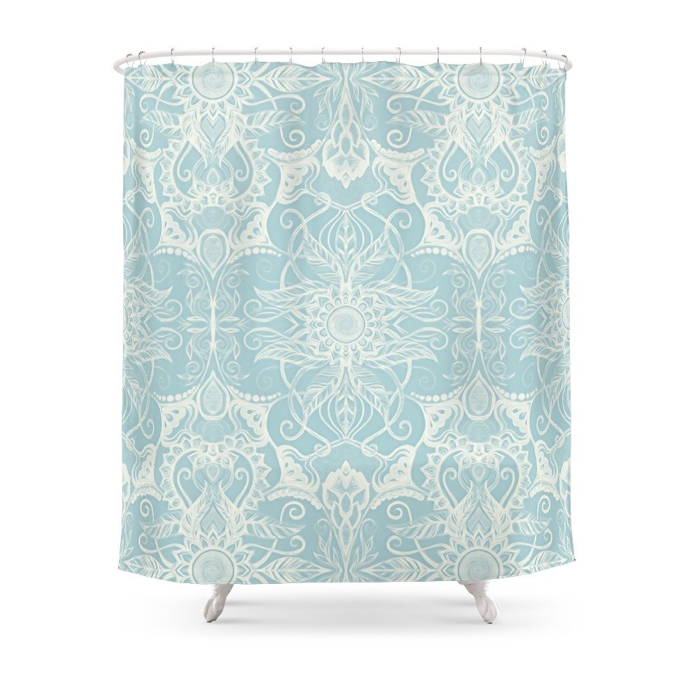 Floral Pattern In Duck Egg Blue Cream Shower Curtain Polyester Fabric Bathroom Home Waterproof Print Curtains From Garden