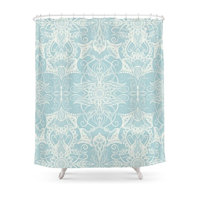 Floral Pattern In Duck Egg Blue Cream Shower Curtain Polyester Fabric Bathroom Home Waterproof Print Curtains