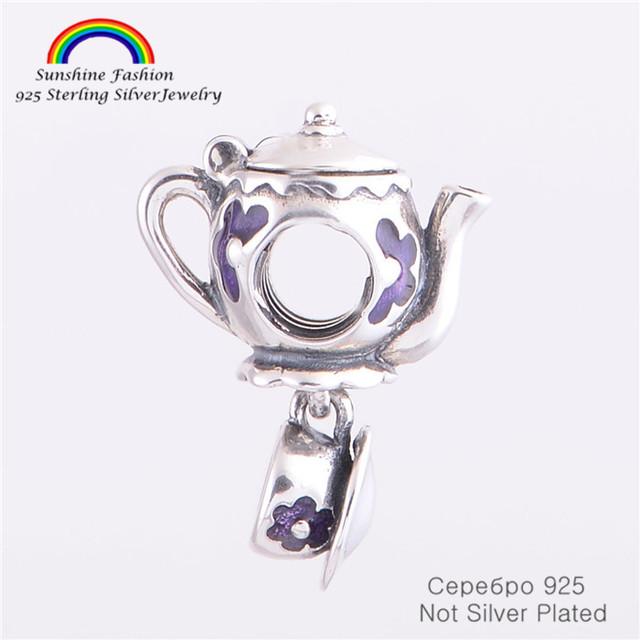 Jóias 925-sterling-silver chaleira beads serve pandora encantos pulseiras pulseira cadeia cobra diy tomada de jóias finas
