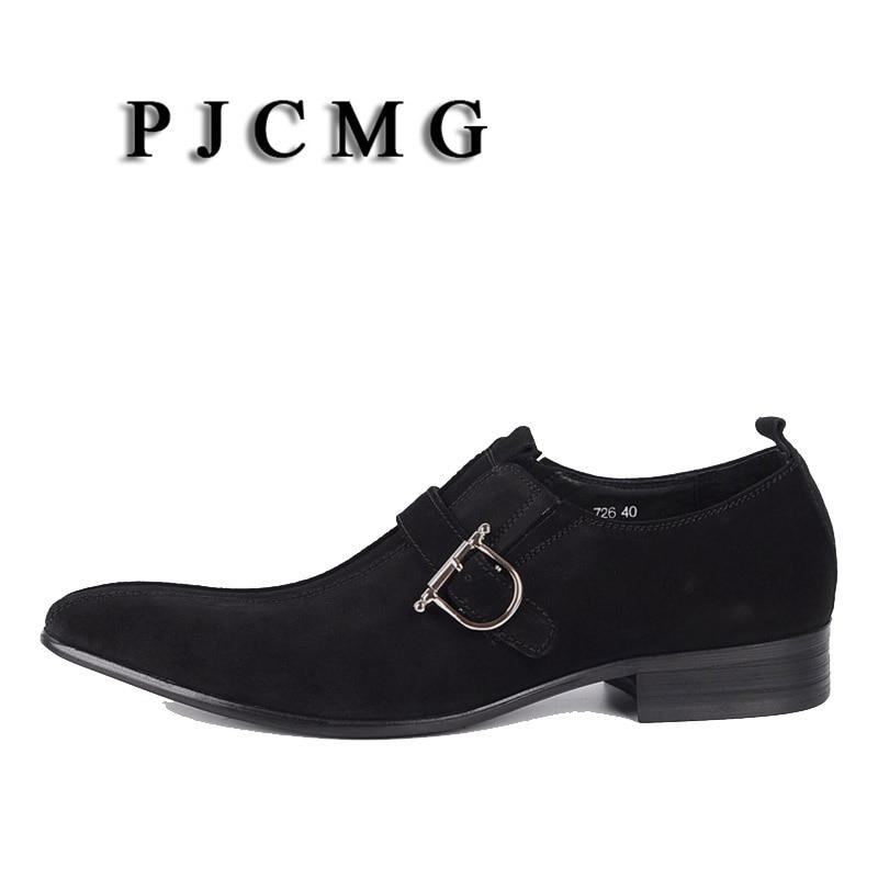 Affaires Bout brwon Cuir Daim brwon Hommes Mariage Véritable De Robe Sangle Pointu Black En Casual Boucle Pjcmg Mode Chaussures Noir qpS6wSz