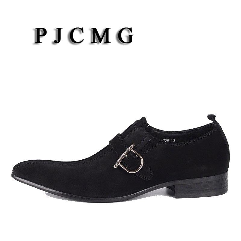 PJCMG/Модная Мужская обувь; замшевая обувь из натуральной кожи с пряжкой на ремешке с острым носком; цвет черный, Brwon; мужская повседневная Свадебная деловая обувь - 2