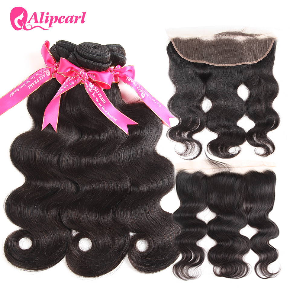Hair-Extension Frontal Closure Body-Wave Alipearl 3-Bundles Brazilian With Remy 13x4