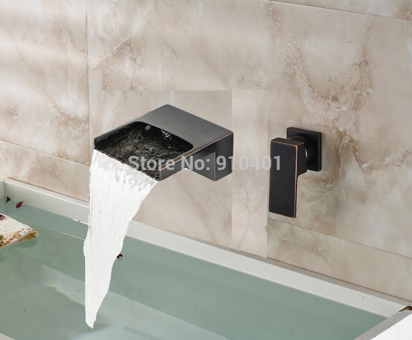 ФОТО Oil Rubbed Bronze Waterfall Bathroom Faucet Brass Spout Mixer Tap Single Handle
