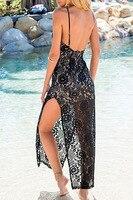 женщины черный белый сексуальный с низким вырезом на спине длинная платье пляж кружево лето платье с боковой разрез платья vestidos ренда-линии один размер l6825