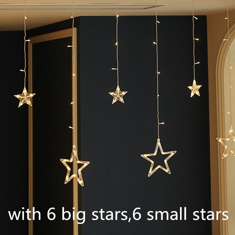 220V Holiday Lighting 138 LED Fairy Star Moon Curtain String luminarias Garland Decoration Christmas Wedding Light