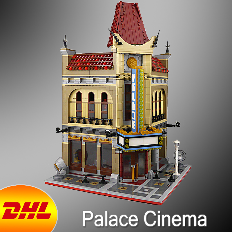 HF City Street Figures 2354Pcs Palace Cinema Model Building Kit Blocks Bricks Educational Toy For Children Compatible With 10232 a toy a dream lepin 15008 2462pcs city street creator green grocer model building kits blocks bricks compatible 10185