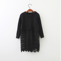 Spring Autumn Boutiques Baby Kids Lace Clothes Children Girls Wholesale Clothing Princess Knitted Flower Floral Dresses