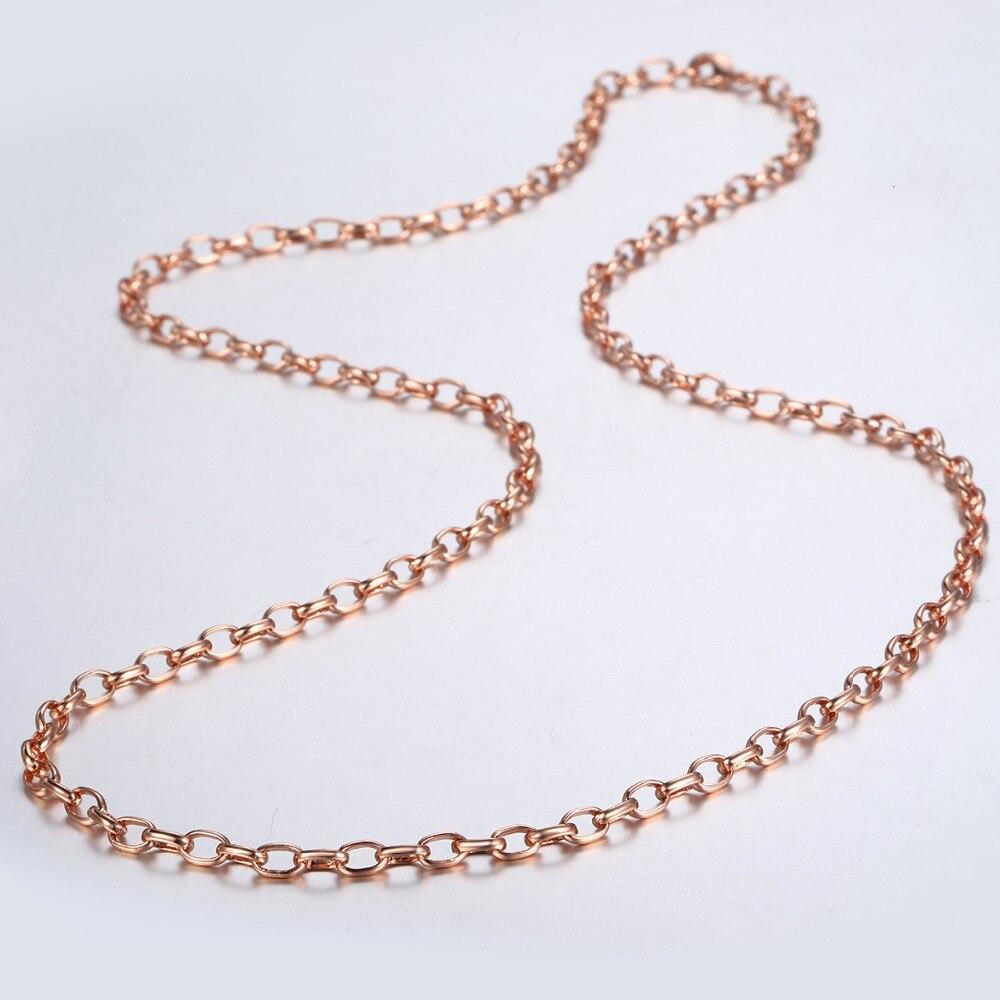 6bea4c50e190 Trendsmax 4mm Collar para Mujeres Hombres 585 Rosa oro enlace cadena collar  mujer moda joyería San Valentín regalos 18- 36 pulgadas GN355 -  a.empyeria.me