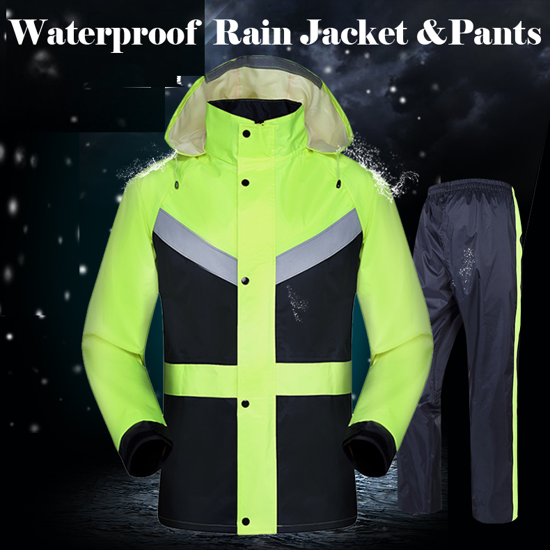 New Hi Vis Lime Green Men's Rain Wear Waterproof Jacket With Pant Reflective Rain Suit  Free Shipping