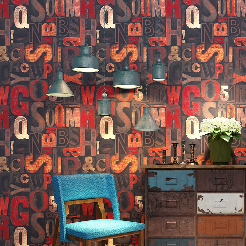 Retro Fashion English Letters 3D Printing Wall Paper PVC Surface Waterproof Bar Restaurant Cafe Home Wallpaper For Walls Roll 3D
