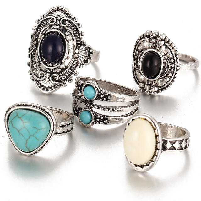 5Pcs/Set Women Boho Vintage Silver Rings