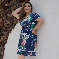 Duży Plus rozmiar sukienka lato drukowane kwiatowy Sexy kobiety sukienka z nadrukiem kolorowe Lady sukienka z krótkim rękawem Letnia sukienka 4
