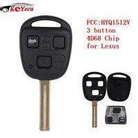 Keyecu nova chave do carro remoto fob 3 botão toy48 lâmina com 4d68 chip para lexus es300 gs300 gs400 gs430 is300 ls400 fcc id: hyq1512v|Chave do carro|   -