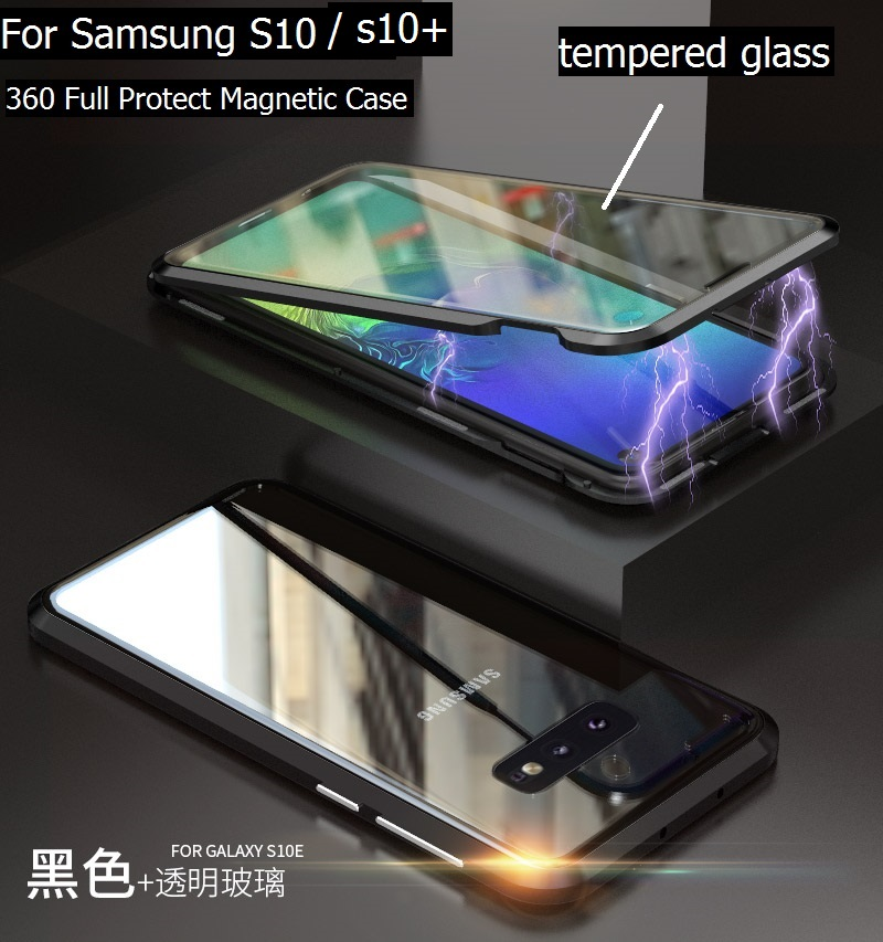 360 caixa de adsorção magnética completa para samsung galaxy s10 5g s8 s9 mais nota 10 mais 9 8 vidro temperado a frente capa traseira caso