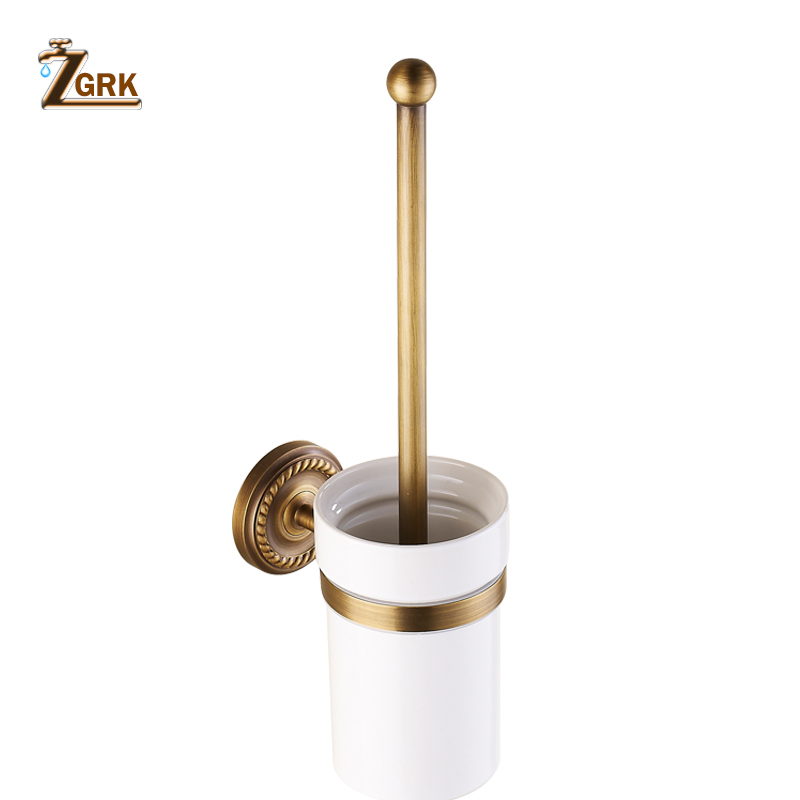 ZGRK Toilet brush holders Brass Plated Wall mounted Toilet Brush Holder With Ceramic Cup Household Products Bath Hardware sets free postage gold plate toilet brush holder with ceramic cup wall mounted flower carved