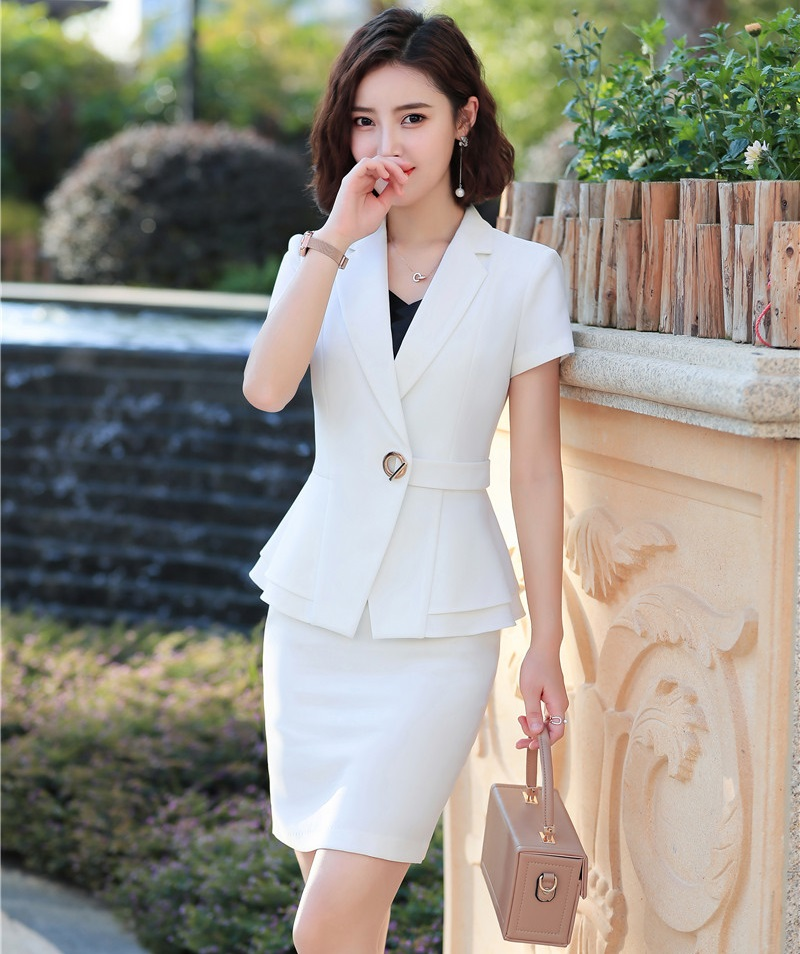 Formal Business Suits With Tops And Skirt 2019 Summer Short Sleeve Women Professional Work Wear Ladies Blazers Sets OL Styles