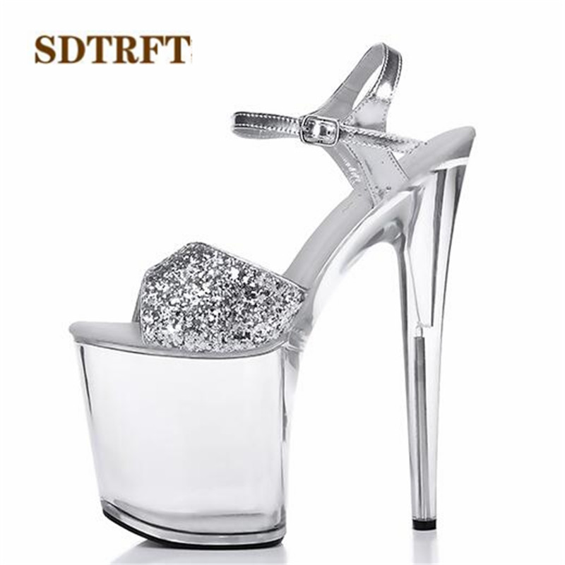 SDTRFT:34-46 Fashion Crossdresser Buckle Sandals 20cm Thin Heels Shoes Platform Paint Leather Crossdresser SM Shoes Woman Pumps