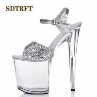 SDTRFT:34 44 Fashion Crossdresser Buckle Sandals 20cm thin heels shoes platform paint leather Crossdresser SM shoes woman pumps