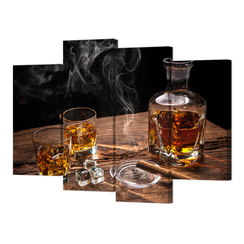 Visual Art Decor 4 Panels Modern Kitchen Canvas Painting Whisky Pictures for Bar Decoration HD Canvas Prints/SV10244
