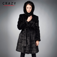 Winter Warm S 7XL Customized Artificial Mink Fur Coats with a Hood Women Plus Size Luxury Fake Fur Jacket Coats faux fur coats