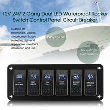 (ship from us) car waterproof marine boat caravan rv rocker switch panel  led circuit breaker 12v 6 gang overload protection anti-corrosion