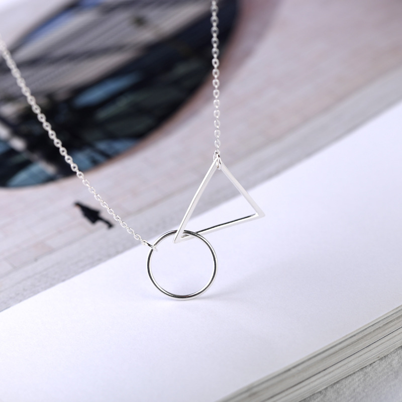 2018 New Arrival Fashion 925 Sterling Silver Pendant Necklace Geometric figure Silver Necklace For Women Fine Jewels Wholesale