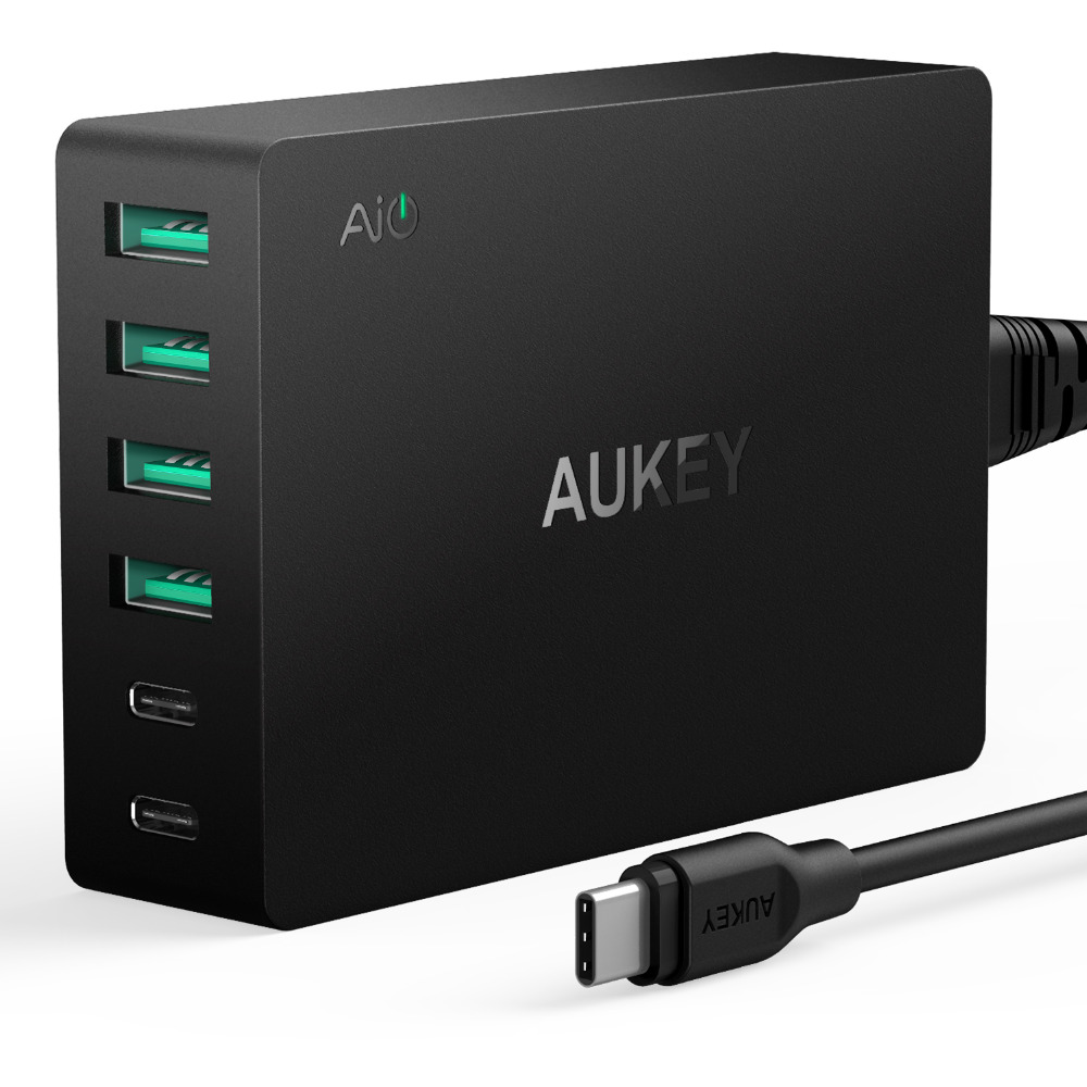 aukey amp type c 6 port usb charger with quick charge 3 0 usb c cable for lg g5 iphone 7plus. Black Bedroom Furniture Sets. Home Design Ideas