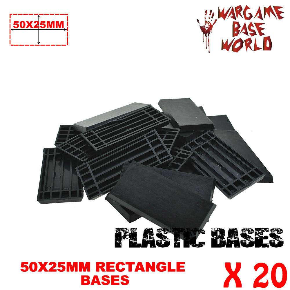 20PCS Rectangular Bases 50x25mm Base Plastic Black  For Wargames And Table Games