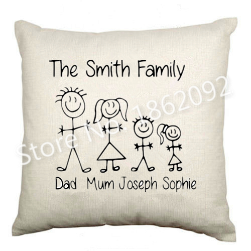 Aliexpress.com : Buy Funny Custom Name Family Cushion Cover Personalised Stick Family Throw ...