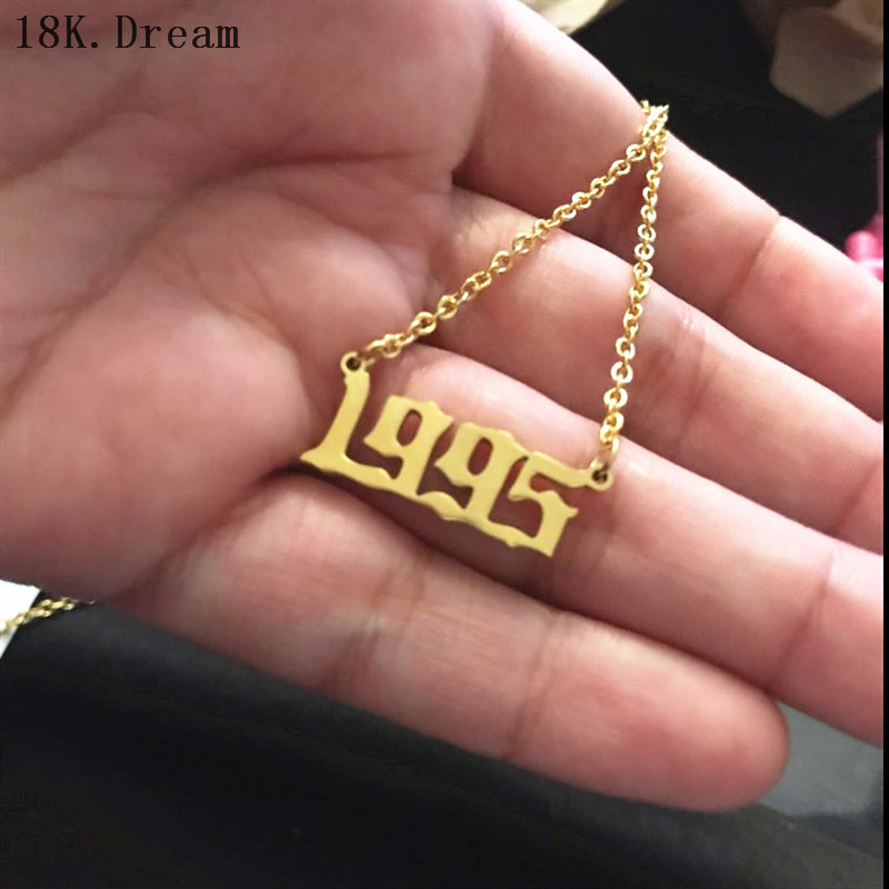 Old English Number pendant Necklaces Custom Jewelry Special Date Year 1991 1992 1993 1994 1995 1996 1997 1999  Birthday Gift(China)