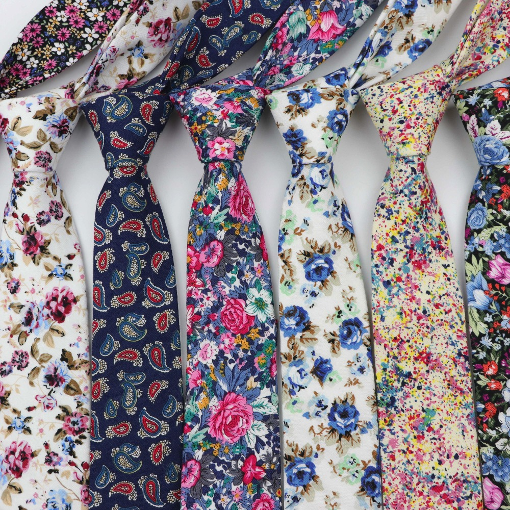 Cotton Flower Tie Classical Colorful Floral Stitching Necktie Lovely Fashion Mens Narrow Neckties Designer Handmade Ties
