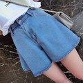 Más el tamaño de mezclilla vaqueros estilo 2016 bermuda shorts verano de las mujeres feminina damas pantalones cortos de pierna ancha de cintura Alta pantalones cortos para las mujeres A0251