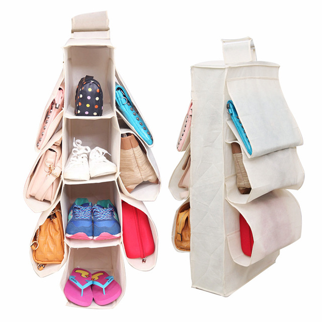 WHISM Hanging Storage Bag Over Door Shoe Bag Storage Container Space Saver  Organizer Non Woven