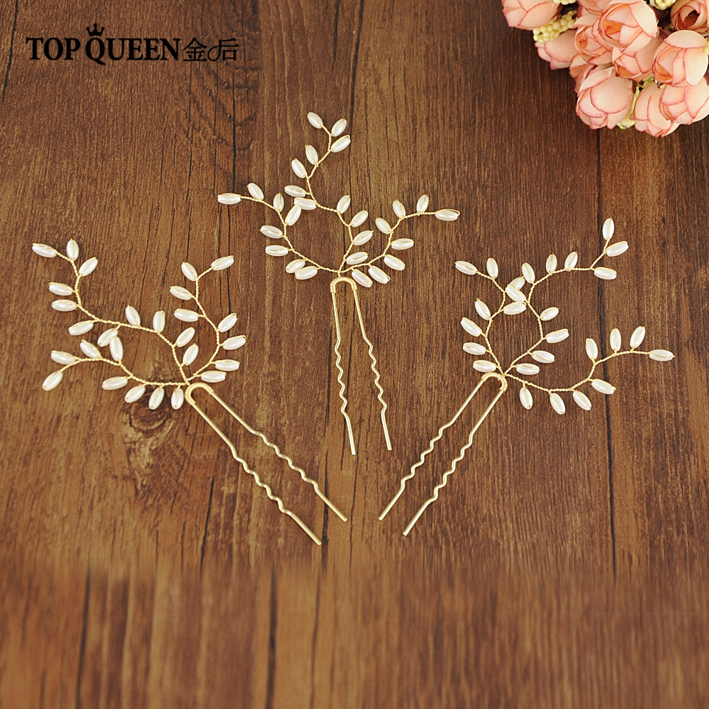 TOPQUEEN HP173 Elegant Wedding Accessories Gold Bridal Hair Pin With Pearls For Evening Party Fast Shipping Bridal Hairpiece