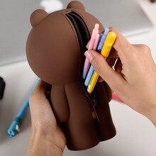 Высококачественный мультяшный чехол-карандаш, милый чехол, силиконовый чехол, ГЕЛЕВЫЙ, кавайный, корейский, коричневый медведь, кони, 3D чехол-карандаш, подарок для девочки