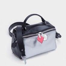 06bf6f9495 2018 Famous Brand Designer Women Pillow Bag Handbag Panelled Genuine  Leather Shoulder Bag Wide Strap Female