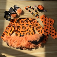 2016 New Arrival Baby Girls Outfits Halloween Baby Kids Boutique Baby Girl Halloween Sets With Necklace
