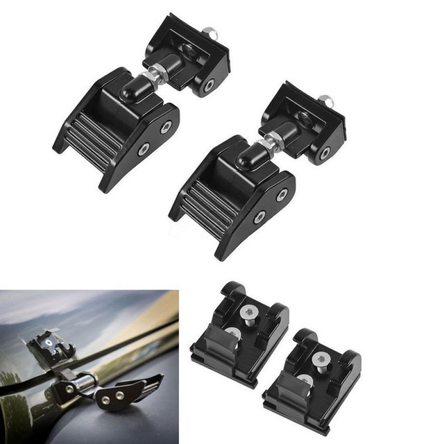 1Pair Aluminum Hood Lock Catches Hood Latch Catch Kits Hardware Set Fit For 2007-2016 Jeep Wrangler JK Unlimited 2&4 Door Black