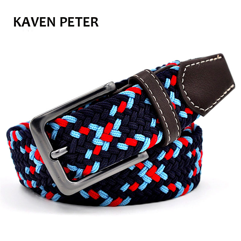Elastic   Belt   Canvas   Belt   Hot Men Elastic Leather   Belt   With Mixed Knitted Three Color Strech   Belt   Factory Directly Price
