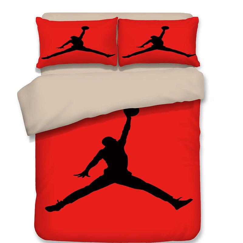 LLANCL Bande Dessinée de Basket-Ball de Sport Étoiles Imprimé Couette/Couette/Couette couverture Adulte Chambre 3 pcs Polyester Fiber De Cadeau De Noël rouge