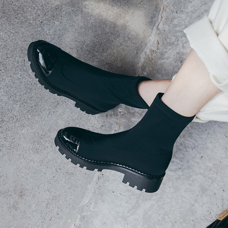 Fashion Women's Boots Round Toe Lycra Elastic Ankle Boots Platform shoes Woman Female Socks Boots 2019 Autumn new