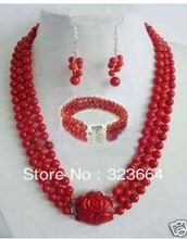 3rows 6mm red Sea coral necklace earring bangle