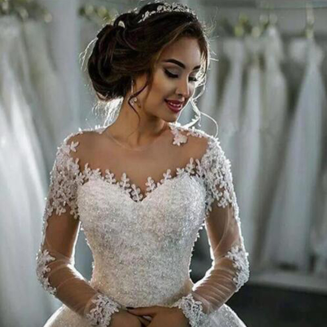 Robe De Mariee Wedding Dress 2019 Puffy Ball Gown Long Sleeves Pearls Lace Tulle Bridal Gown Vestido De Noiva