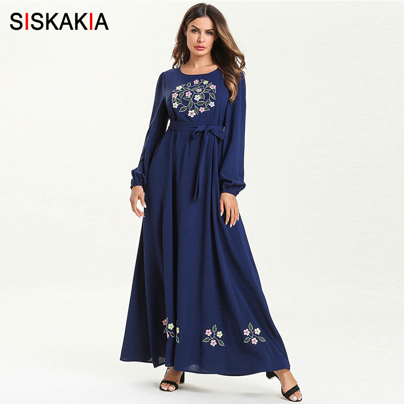 Siskakia Elegant Women's Maxi Dresses Ramadan Solid Floral Embroidery Long Dress Burgundy Casual Muslim Robes Blue Spring 2019